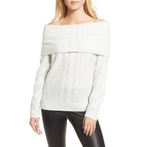 CHELSEA28 off the shoulder, white shimmer sweater